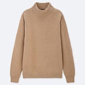 UNIQLO Basket Weave Knit Cream Beige Sweater Sz L